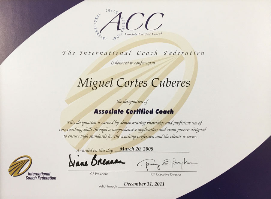 Certificado por la International Coach Federation